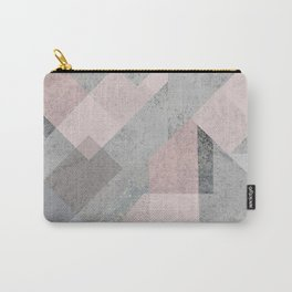 BLUSH GRAY AQUA GEOMETRICAL PATTERN Carry-All Pouch