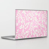 shabby chic Laptop & iPad Skins featuring Shabby Chic pink damask by Miriam Hahn