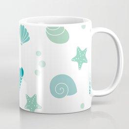 cute summer exotic pattern background illustration with seashells Coffee Mug