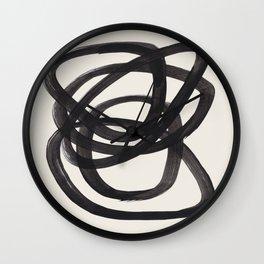 Mid Century Modern Minimalist Abstract Art Brush Strokes Black & White Ink Art Spiral Circles Wall Clock