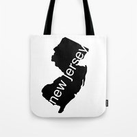 new jersey Tote Bags featuring New Jersey by Isabel Moreno-Garcia