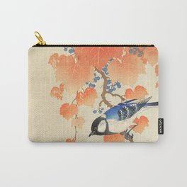Colorful bird sitting on a tree branch - Japanese vintage woodblock print art  Carry-All Pouch