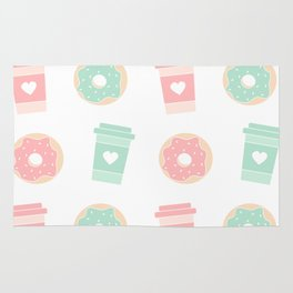 cute colorful donuts and coffee pattern background illustration Rug
