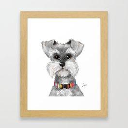Moustache dog Framed Art Print