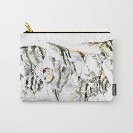 Fish Zebra Design, Angelfish aquarium design, underwater scene, black and white Carry-All Pouch