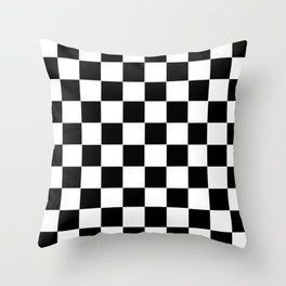 Checker Cross Squares Black U0026 White Throw Pillow