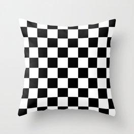 Checker Cross Squares Black & White Throw Pillow