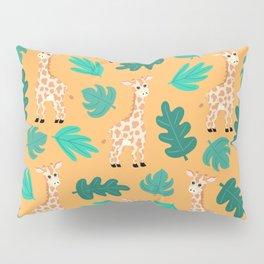 Wild Cute Green Orange Giraffe Leaves Pattern Pillow Sham
