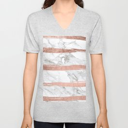 Modern chic faux rose gold brush stripes white marble Unisex V-Neck