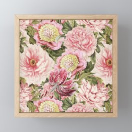 Vintage & Shabby Chic Floral Peony & Lily Flowers Watercolor Pattern Framed Mini Art Print