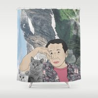 murakami Shower Curtains featuring HARUKI MURAKAMI by Lucas Eme A