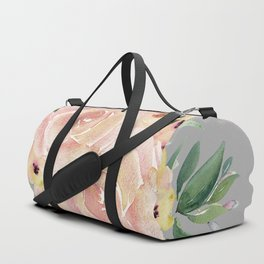 Wild Roses on Mid Gray Duffle Bag