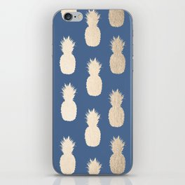 Gold Pineapples on Aegean Blue iPhone Skin