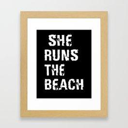 She Runs The Beach Framed Art Print