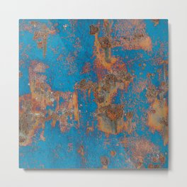 Rust on blue background Metal Print