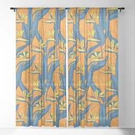 Bird of paradise flowers Sheer Curtain