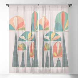 Quirky retro palm trees Sheer Curtain