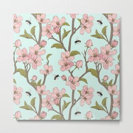 Lovely Cherry Blossom And Honey Bee Springtime Pattern Metal Print