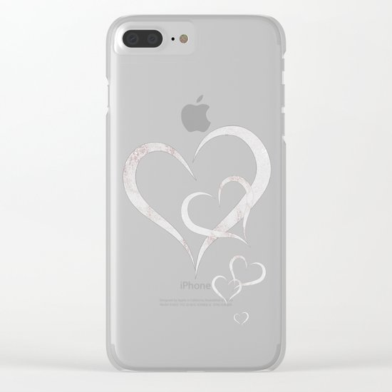 Marble Pattern Silver Rosé Clear iPhone Case