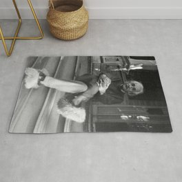 Albert Einstein in Fuzzy Slippers Classic Black and White Satirical Photography - Photographs Rug