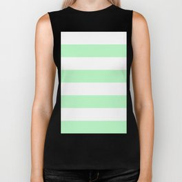 Wide Horizontal Stripes - White and Light Green Biker Tank