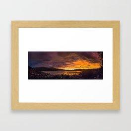 January sunset over Lyttelton harbour Framed Art Print