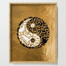 Yin-Yang Cats - Gold Serving Tray