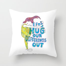 Let's Hug Our Differences Throw Pillow