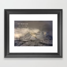 The Mountains are calling, and I must go.  John Muir. Vintage. Framed Art Print