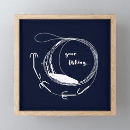 Gone fishing- illustration on marine blue Framed Mini Art Print