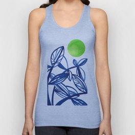 Navy blue and lime green abstract leaves Unisex Tank Top