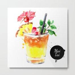Watercolor Mai Tai Metal Print