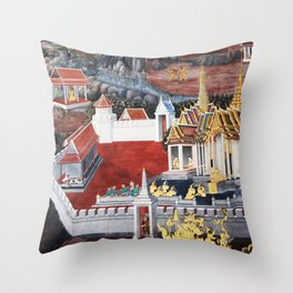 Wall painting from the Grand Palace in Bangkok, Thailand Throw Pillow