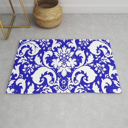 Paisley Damask Blue and White Rug