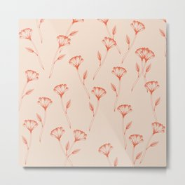 Flower repeat pattern in burnt orange inspired by tattoo style, boho chic illustration Metal Print