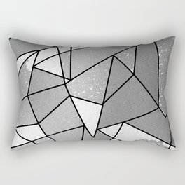 Cool Modern Black Gray Distressed Geometric Pattern Rectangular Pillow