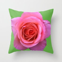 bed of roses: hot pink, neon green Throw Pillow