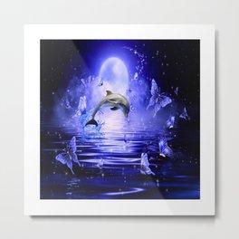 Dolphin & Butterflys Metal Print