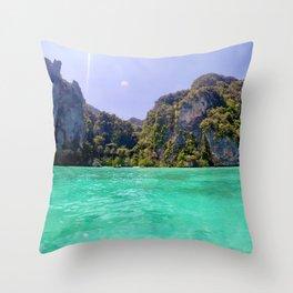 Emerald Water in Phi Phi island Throw Pillow