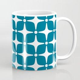 Mid Century Modern Star Pattern Peacock Blue 2 Coffee Mug