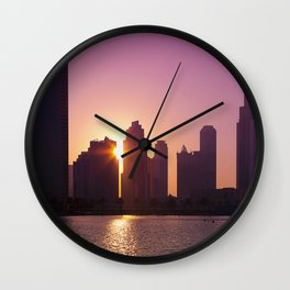 Downtown Sunset Wall Clock