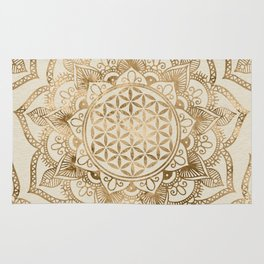 Flower of Life in Lotus - pastel golds and canvas Rug