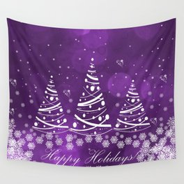 Happy Holidays Purple Magic Wall Tapestry