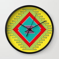 kilim Wall Clocks featuring Persian Kilim - Yellow Background by Katayoon Photography