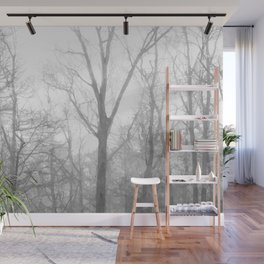Black and White Forest Illustration Wall Mural