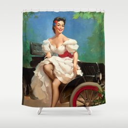 Pin Up Girl and Antique Car Shower Curtain