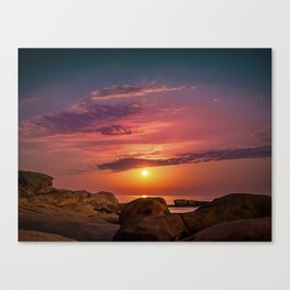 "Magical landscape with clouds and the moon going up in the sky in ""La Costa Brava, Spain"" Canvas Print"