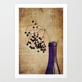 Berries in Cobalt Art Print