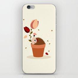 Hérisson et tulipes iPhone Skin