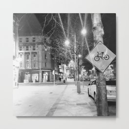 Bikes and Black and White Metal Print